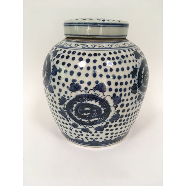 2010s Blue and White Porcelain Peony Ginger Jar For Sale - Image 5 of 5