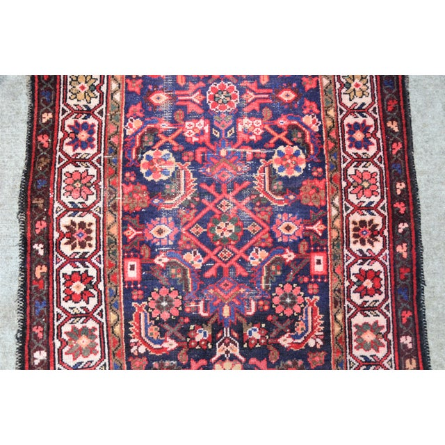 Mid 20th Century Vintage Mid-Century Floral Persian Hamedan Runner - 3′3″ × 9′7″ For Sale - Image 5 of 11