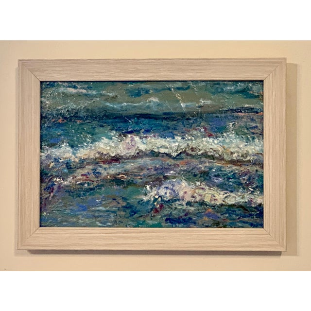 Contemporary Contemporary Abstract Seascape Original Oil Painting, Framed For Sale - Image 3 of 5