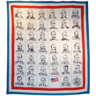 Hand Embroidered Presidential Quilt, Circa 1980