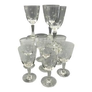 Noritake Starburst Hand Blown Crystal Cocktail Glasses - Set of 10 For Sale