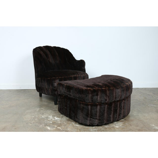 Furry Lounge Chair with Ottoman - Image 2 of 11