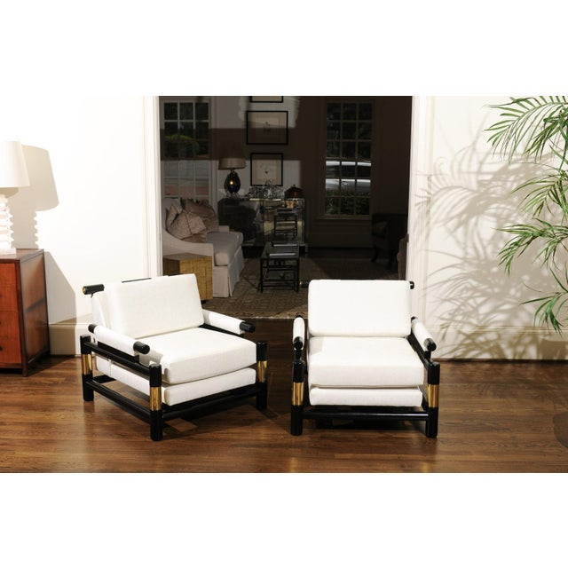 Breathtaking Pair of Modern Floating Pagoda Club Chairs by Baker, Circa 1980 For Sale - Image 11 of 13