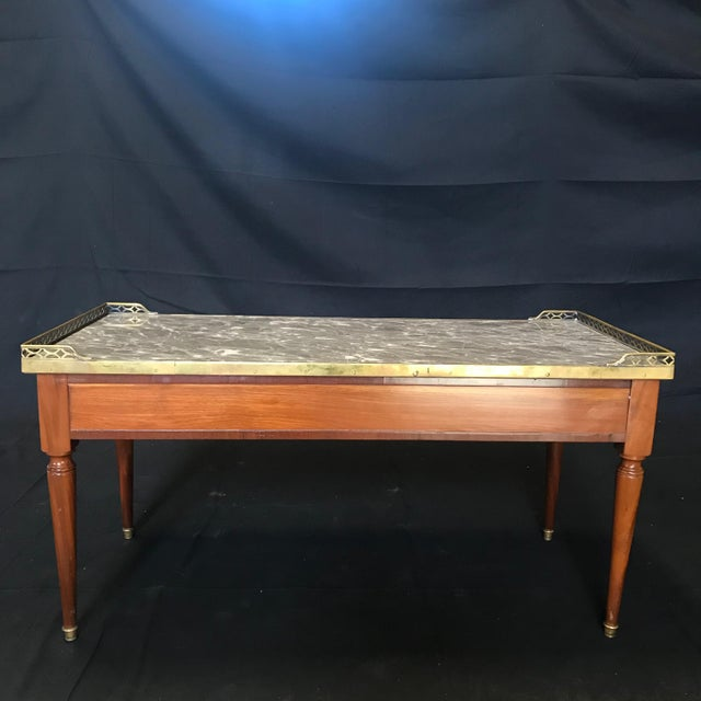 1920's French Louis XVI Style Walnut and Marble Coffee Table For Sale - Image 11 of 11
