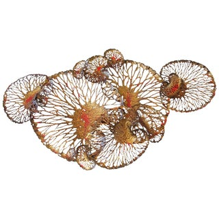 Red and Gold Lotus Iron Wall Sculpture by Fabio Ltd For Sale
