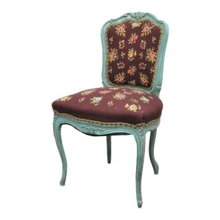 Louis XV Style Blue Needlepoint Side Chair For Sale