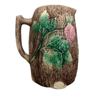 Late 19th Century Antique English Majolica Pink Wild Rose & Tree Bark Glaze Pitcher For Sale