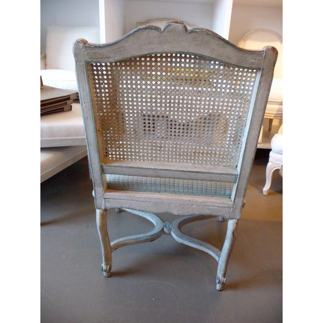 Mid 18th Century 18th Century Painted Cane-Back Armchair For Sale - Image 5 of 11