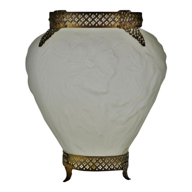 Art Deco Large Tiffin Satin Glass Poppy Vase With Brass Filigree