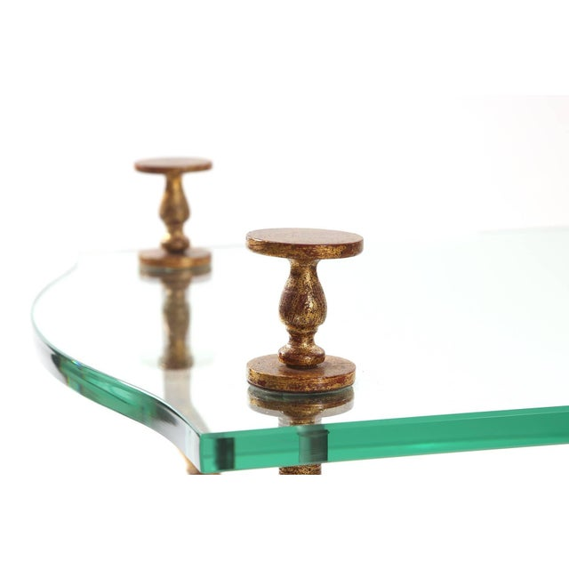 Gold Leafed Steel and Glass Sculptural Cocktail Table For Sale - Image 4 of 5