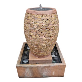 Peach Pebble Stacked Fountain For Sale