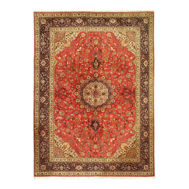 Rust Persian Silk&wool Tabriz 8'2'' X 11'3'' For Sale