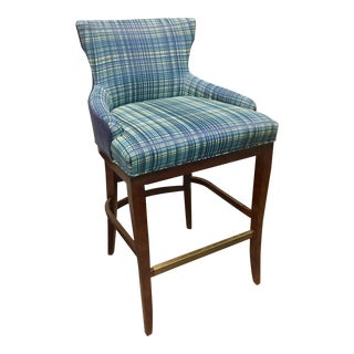 Century Furniture Plaid Barstool For Sale