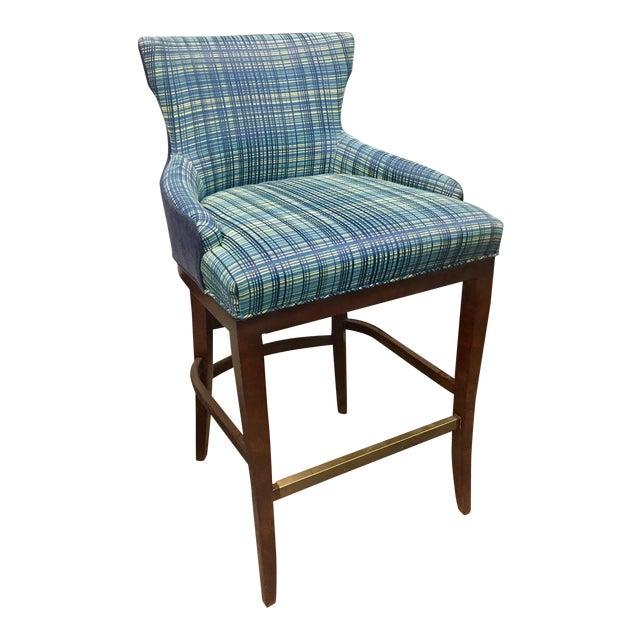 Century Furniture Plaid Barstool For Sale