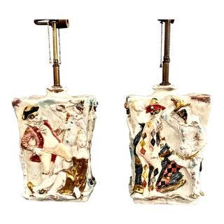"Pair Eugenio Pattarino ""Venetian Carnival"" Lamps For Sale"