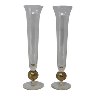 Blown Glass Bud Vases - a Pair For Sale
