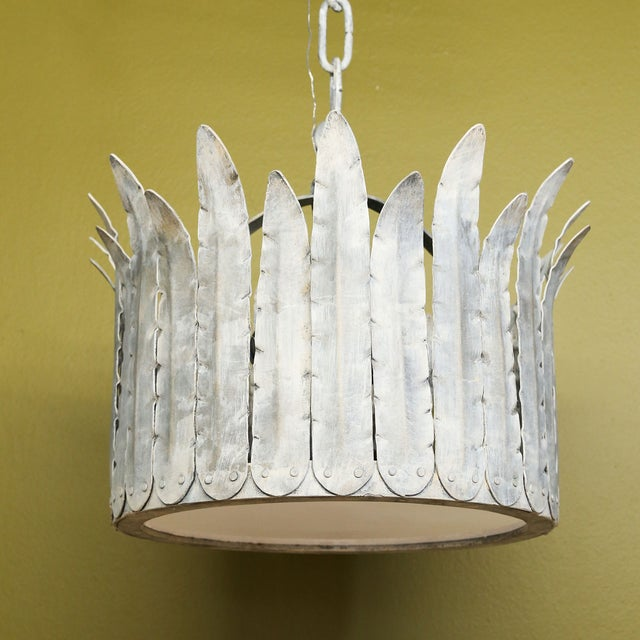 """2010s Hand-Crafted Iron """"Fairfield"""" Crown Light in Silver For Sale - Image 5 of 9"""