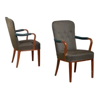 Pair of Axel Larsson Armchairs, Sweden, 1940s For Sale