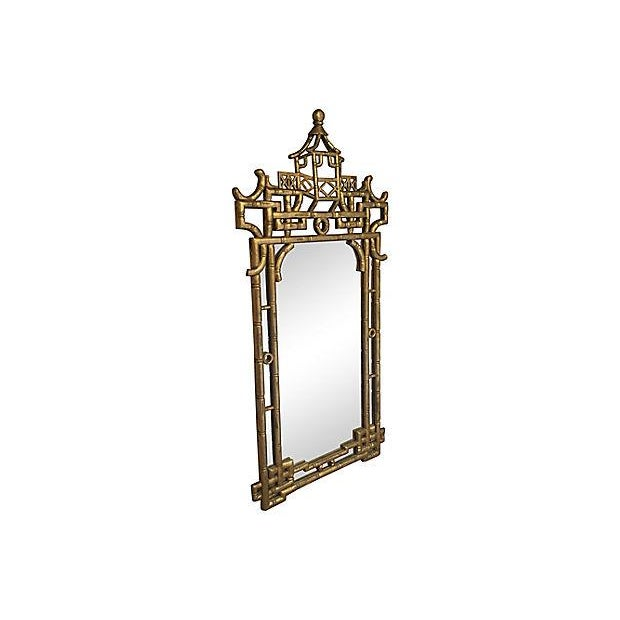 Asian Faux-Bamboo Gilt Mirror For Sale - Image 3 of 7