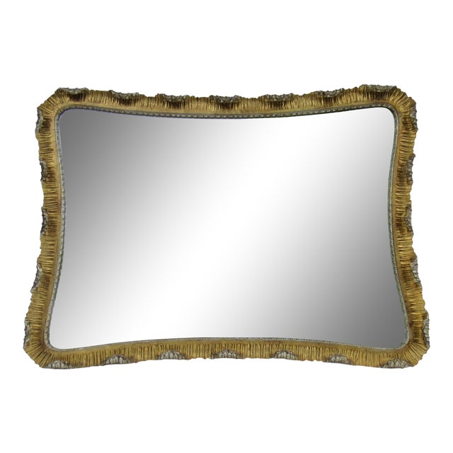 Vintage C.1963 Hollywood Regency, Italian Venetian Carved Gilt Gold & Silver Scalloped Mirror For Sale