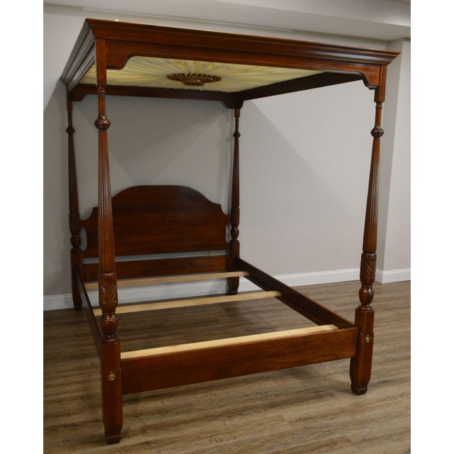 Harden Furniture Harden Cherry Queen Size Poster Bed With Custom Canopy For Sale - Image 4 of 13
