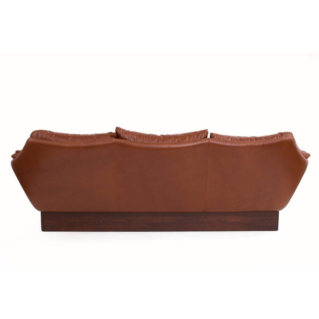 Sculptural Danish Leather & Down Sofa For Sale In Phoenix - Image 6 of 7