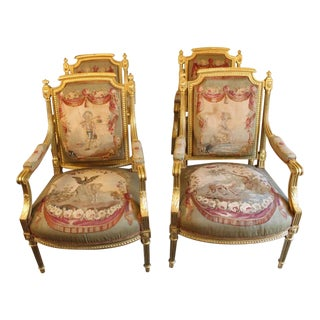 19th Century Louis XVI Style Bergeres - set of 4 For Sale