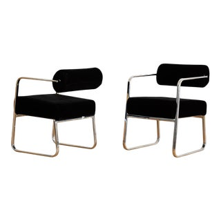 1970s Chrome and Velvet Armchairs With Cantilevered Backs - a Pair For Sale
