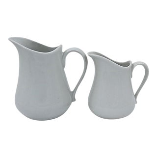 French White Porcelain Kitchen Jugs - A Pair