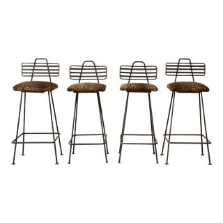 Art Deco Wrought Iron Bar Stools w/ Leopard Print Upholstery - Set of 4