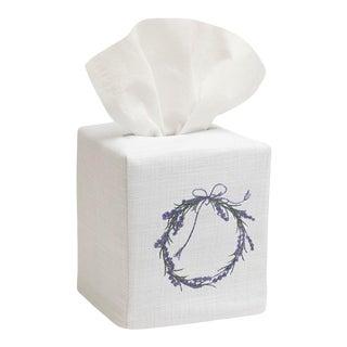 Lavender Wreath Tissue Box Cover in White Linen & Cotton, Embroidered For Sale