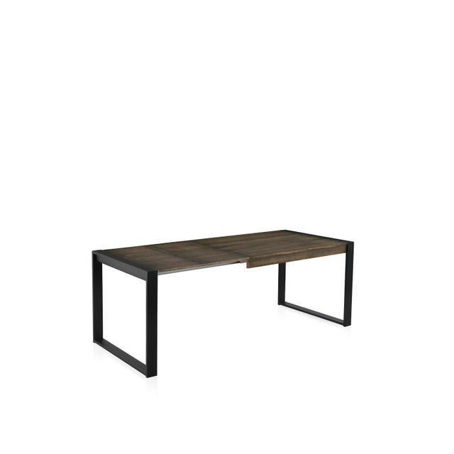 Modern New Extendable Dining Table for Indoor and Outdoor With Wood Top For Sale - Image 3 of 9