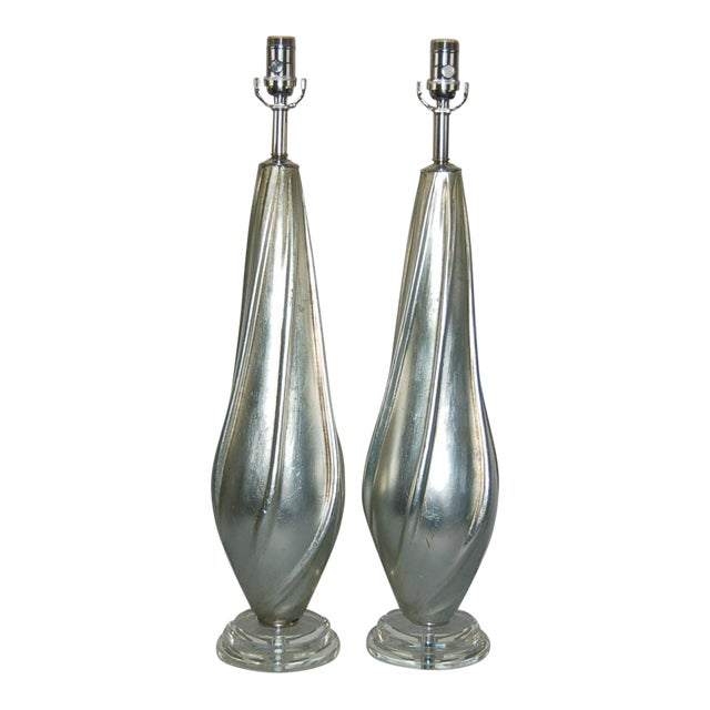 Silver Leafed Table Lamps by Swank Lighting For Sale - Image 10 of 10