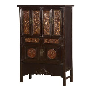 Scholar's Cabinet, Original Carved Lacquer and Gilt, Kuang Hsu Period, China c. 1875 For Sale