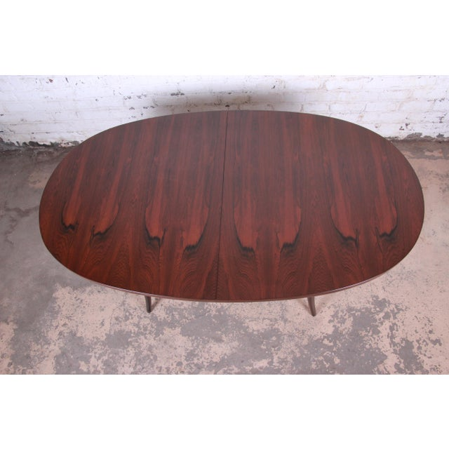 Harvey Probber Mid-Century Modern Saber Leg Rosewood Extension Dining Table, Newly Refinished For Sale - Image 10 of 13