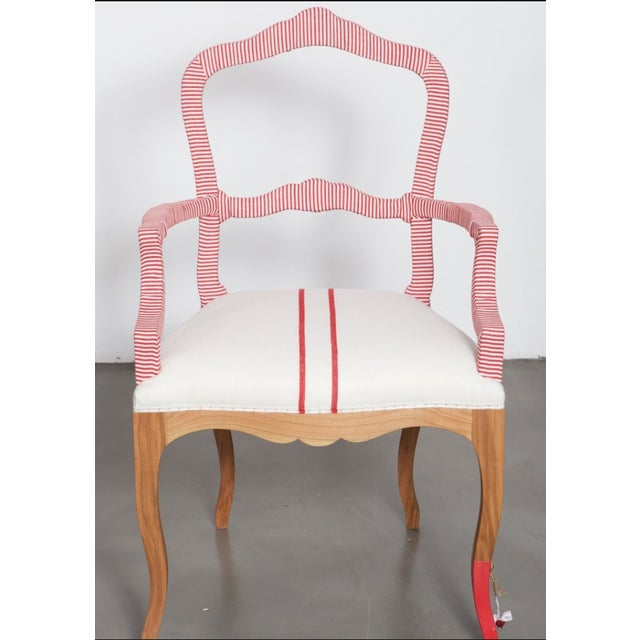 Wood Bunakara Two Stripe Arm Chair in Imperial Red For Sale - Image 7 of 7