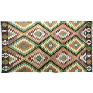 Anatolian Turkish Kilim Multi Diamond Designed Rug For Sale