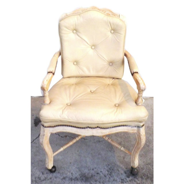 Victorian White Washed Wood Leather Office Chair For Sale - Image 4 of 7