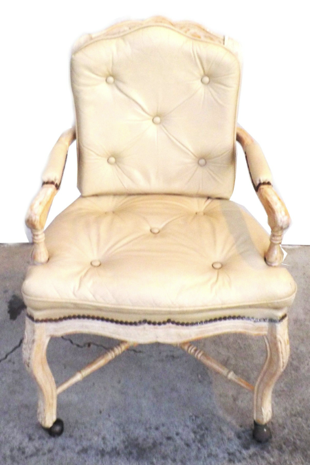 Beau Victorian White Washed Wood Leather Office Chair   Image 4 Of 7