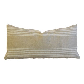 "Tan & White French Cotton/Linen Ticking Lumbar Feather/Down Pillow 26"" X 12"""