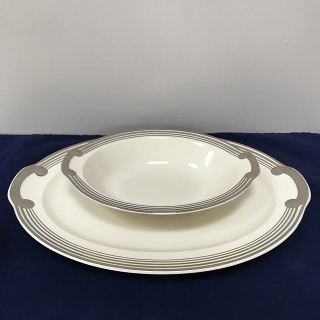 "White Taylor, Smith & Taylor ""Platinum Bands"" Serving Dishes - Set of 2 For Sale - Image 8 of 8"