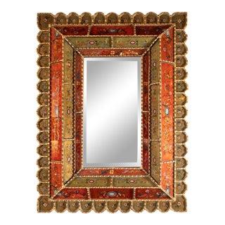 Mid-Century Modern Graphic Gilded Reverse Églomisé Hand-Painted Venetian Mirror For Sale