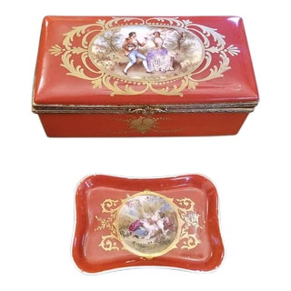 19th C. Sevres Porcelain Trinket Box With Ring Tray - Set of 2 For Sale