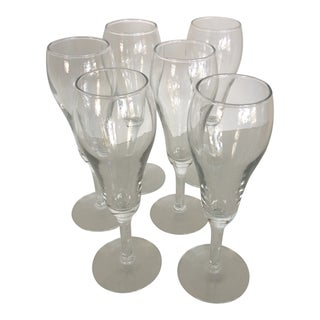 Set of 6 Small Vintage Tulip Style Champagne Glasses For Sale