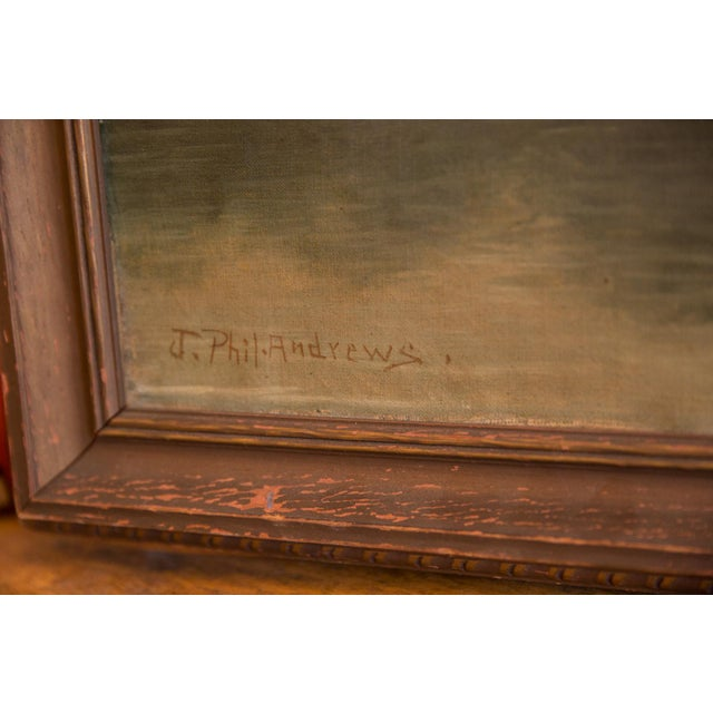 Green Antique Seascape Portait Painting For Sale - Image 8 of 12