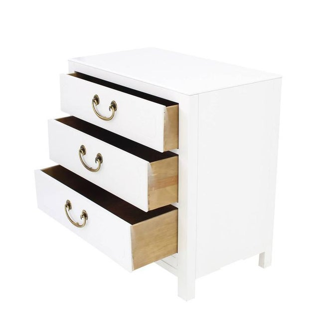 Mid-Century Modern White Lacquer Brass Pulls Bachelor Chests - a Pair For Sale - Image 9 of 11