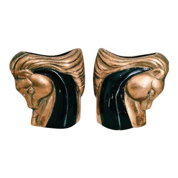 Vintage Art Deco Brass & Black Horse Head Vases - a Pair For Sale