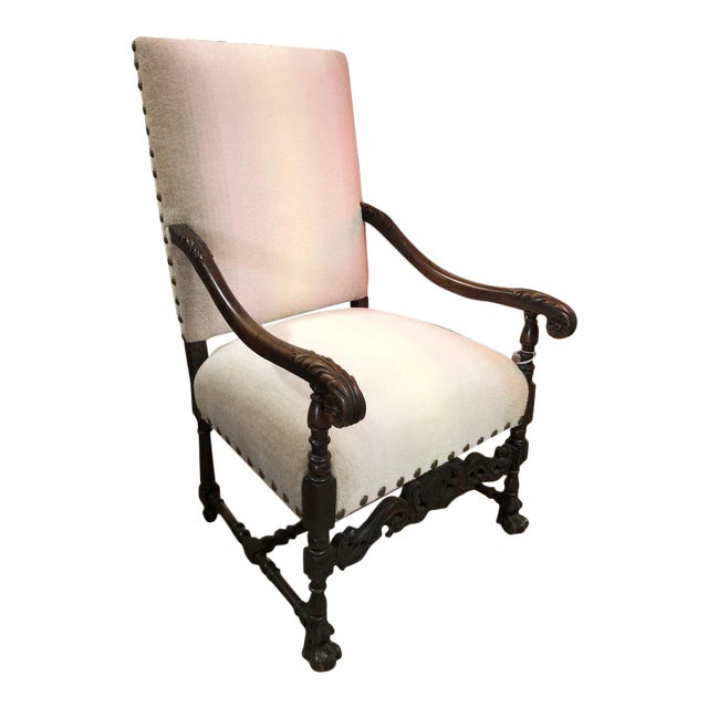Antique Wool Upholstered Arm Chair For Sale