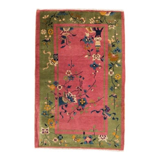 1920s Vintage Chinese Art Deco Rug- 3′2″ × 4′10″ For Sale