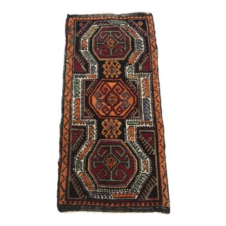 "Hand Made Vintage Nomadic Boho Style Turkish Runner Rug Mat 1'10""x3'10"" For Sale"